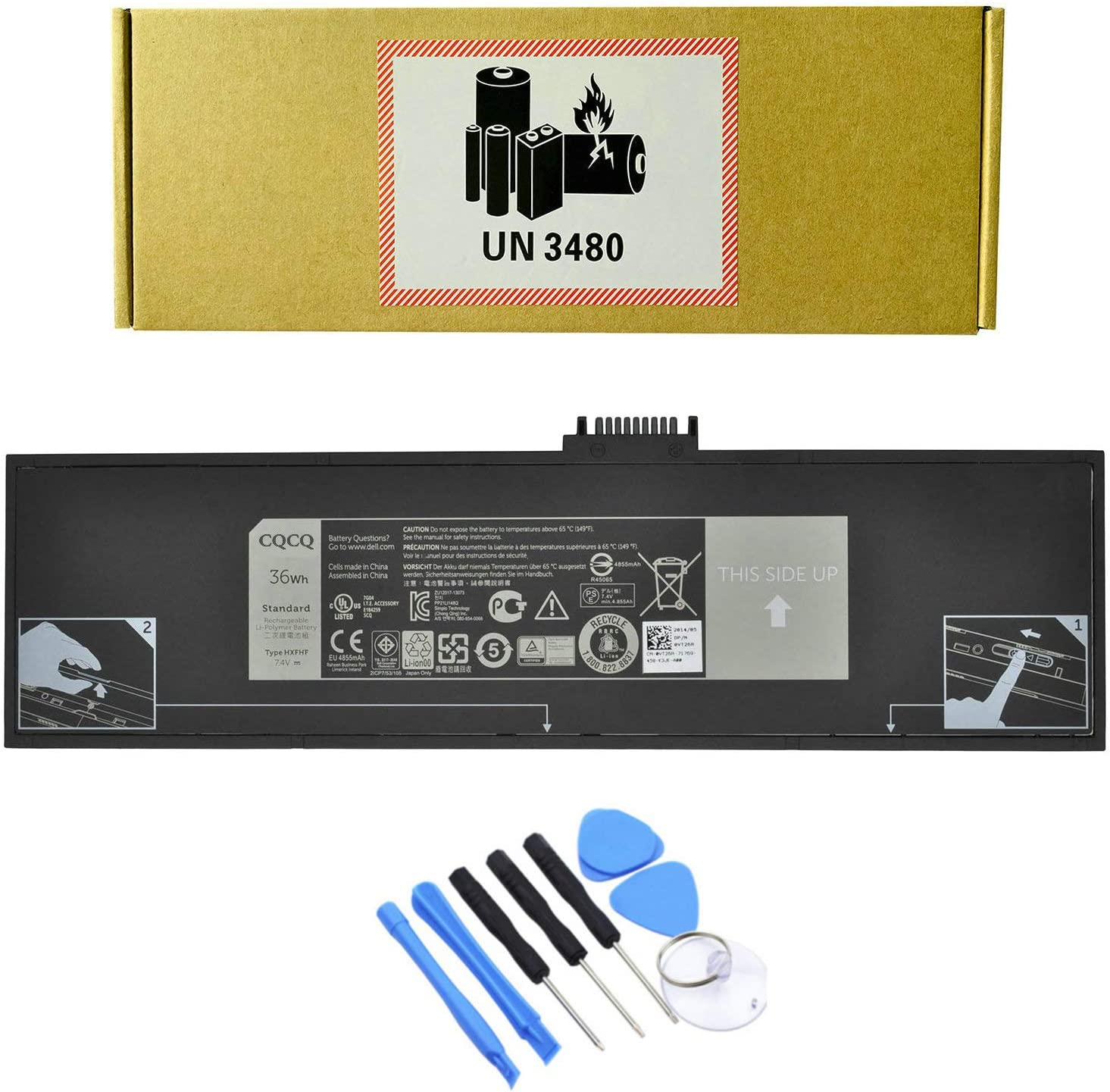 CQCQ HXFHF Battery for Dell Venue 11 Pro 7130 7139 T07G001 Tablet Series VJF0X VT26R XNY66 451-BBGR 0VT26R Laptop (7.4V 36Wh)