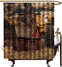 StarsART Shower Curtains for Bathroom with Rosebuds Scenery Decor,Scary Horror Movie Themed Abandoned House in Pale Grass Garden Sunset Photo,Multicolor,W48 x L72,Shower Curtain for Shower stall