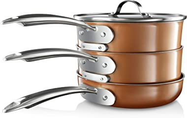 Gotham Steel Stackmaster Pots & Pans Set | Space Saving 15 Piece Stackable Nonstick Cookware Set, Includes Frying Pans, S