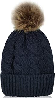 Kid Beanie Hats Lining Pom Pom for Children -Slouchy Cable Knit Toddler Skull Hat Baby Ski Cap for Girls Boys