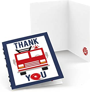 Fired Up Fire Truck - Firefighter Firetruck Baby Shower or Birthday Party Thank You Cards (8 Count)