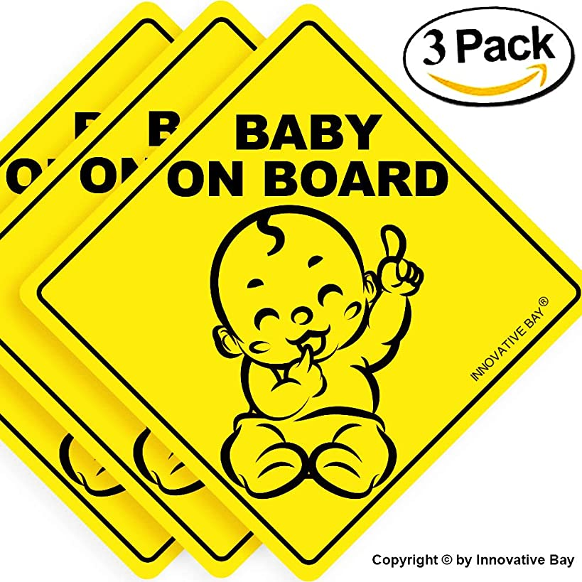 """Baby on Board Sticker Sign (3 pack), Baby board, baby car sticker, baby car decal, baby announcement board, US Department of Transportation recommend color & shape,kid safety, 5""""by5"""" By Innovative Bay"""