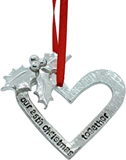 Pirantin 25th Anniversary Christmas Tree Ornament - Reads Our 25th Christmas Together