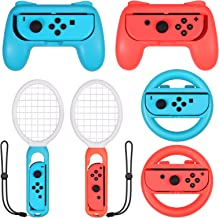 LiNKFOR 3 in 1 Joy-Con Accessories Bundle for Nintendo Switch | Tennis Racket for Mario Tennis Aces Game |Grips Handle for Nintendo Switch Joy-Con | Steering Wheel Accessories Set for Mario Kart