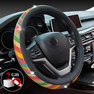 Crystal Diamond Steering Wheel Cover, PU Leather with Colorful Bling Bling Rhinestones, Universal 15inch / 38cm for Women Girls, Black