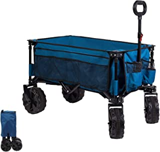 Timber Ridge Collapsible Beach Trolley with Wide Wheels, Folding Camping Wagon, Heavy Duty Utility 80kg Outdoor Portable G...