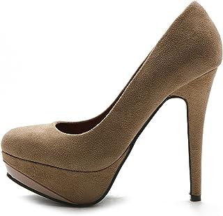 Ollio Women's Shoe Platform Faux Suede Classic High Heel Stiletto Multi Color Pump