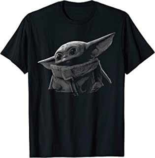 The Mandalorian The Child Black & Grey Portrait T-Shirt