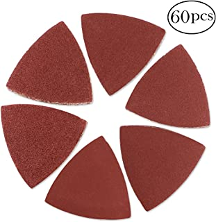 Coceca 60pcs Triangular Velco Sanding Pads 80mm for Oscillating MultiTool 40 60 80 120 180 240 Assorted Grits Triangle Sanding Sheets