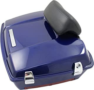 Cobalt Blue Chopped Premium Tour Pak for Harley Touring with Chopped Backrest
