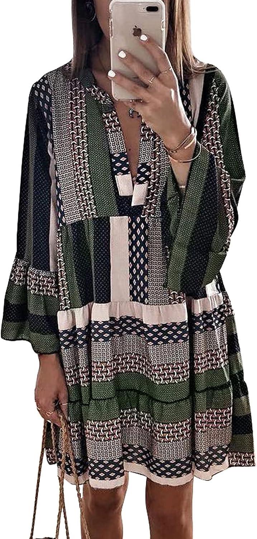 Acelitt Very popular Womens Long Sleeve V Neck Regular dealer Printed Shif Cute Ruffle Flowy