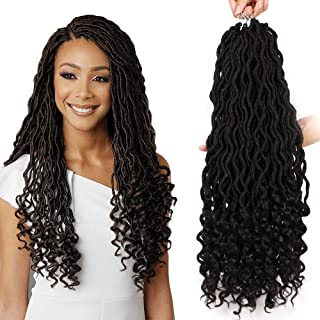 MOXINALAKO 6 Packs/Lot Wavy Goddess Locs Curly Faux Locs Crochet Hair Soft Synthetic Braiding Hair Extensions With Curly Ends Dreadlocks Braids 24 Strands/Pack (20inch, 1B)