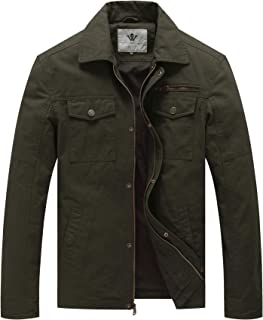 WenVen Men's Spring Canvas Cotton Military Lapel Jacket