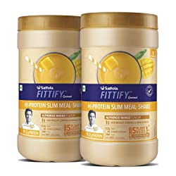 Saffola FITTIFY Hi Protein Slim Meal-Shake, Meal Replacement with 5 superfoods, Alphonso Mango, 420