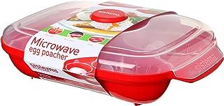 comprar comparacion Sistema Apta para microondas escalfador de Huevos (para 4Huevos, Rojo/Transparente