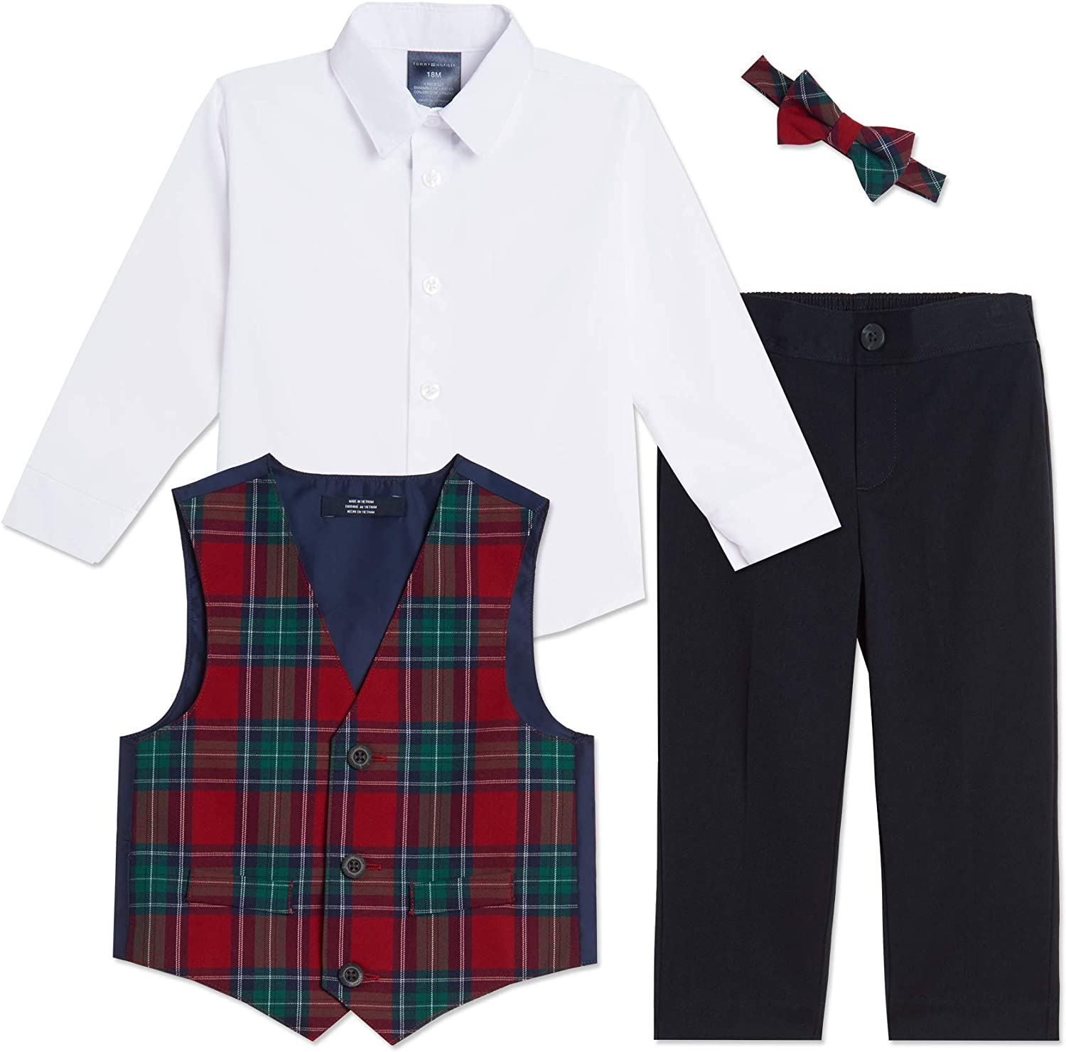 Tommy Hilfiger Baby Boys 4-pc Formal Suit Vest Set