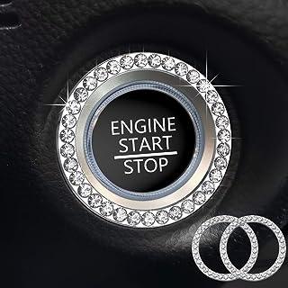 Gprfrvea 2Pcs Bling Car Crystal Rhinestone Ring Emblem Sticker, Car Interior Decoration, Bling Car Interior Accessory for Women,Silver