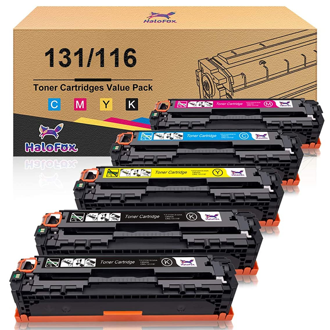 HaloFox Compatible Toner Cartridge Replacement for Canon 131 131H 116 imageClass MF624Cw MF628Cw MF8230Cn MF8280Cw LBP7100Cn for HP 131A 131X (Black, Cyan, Yellow, Magenta, 5 Pack)
