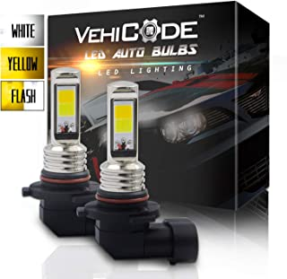 VehiCode 3-Ways 9006 HB4 LED Fog Light Bulb Conversion Kit - Dual Color (6000K White/ 3000K Yellow) Switchback and Flash Strobe for Emergency Warning Hazard Caution - Fanless Replacement (2 Pack)