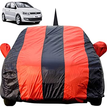 Autofact Car Body Cover for Volkswagen Polo with Mirror and Antenna Pocket (Light Weight, Triple Stitched, Heavy Buckle, Bottom Fully Elastic, Red Stripes with Navy Blue Color)
