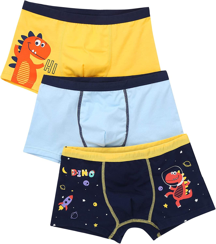 Freebily Toddler Kids Little Boys Soft Cotton Boxer Briefs Elastic Waistband Underwear with Cartoon Shark Dinosaur