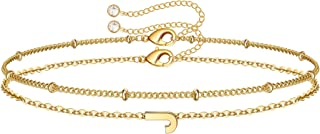 Gold Heart Initial Bracelets for Women, 14K Gold Plated Dainty Personalized Hammered Heart Initial Bracelets for Women Tee...