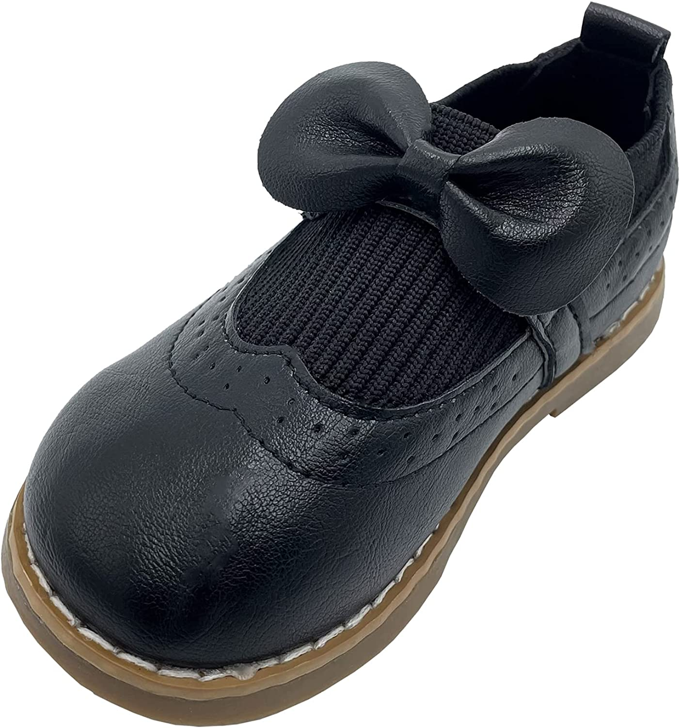 Toddler Girls Bowknot Weave Classic Mary Jane Flats School Uniform Shoes