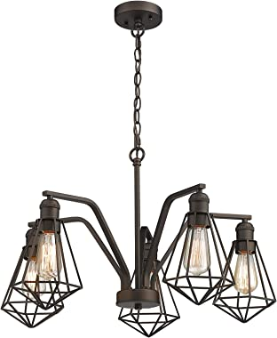 Zeyu 5-Light Pendant Light, Industrial Dining Room Chandelier, Oil Rubbed Bronze Finish with Metal Cage Shade, ZY04-5H ORB