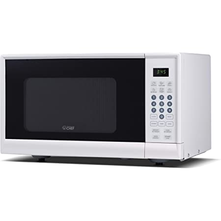 White Cabinet 0.9 Cubic Feet Renewed Commercial Chef CHM990W 900 Watt Counter Top Microwave Oven