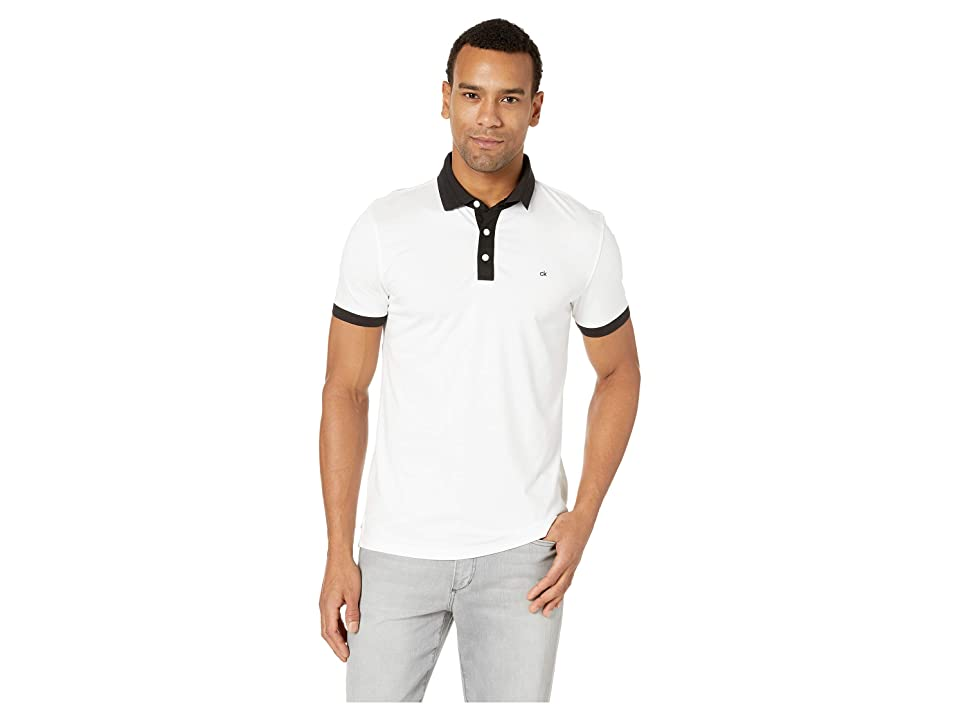 Calvin Klein Short Sleeve Jacquard Collar Polo (White) Men's Clothing
