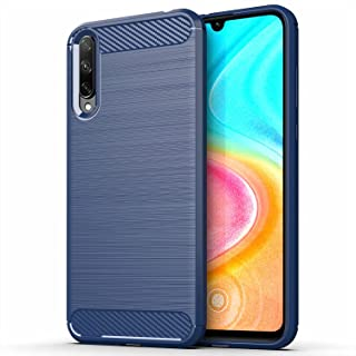 for Huawei Honor 30i Case Brushed Carbon Fiber Texture Style Ultra-thin TPU Soft rubber Anti-drop Protective Cover-Blue