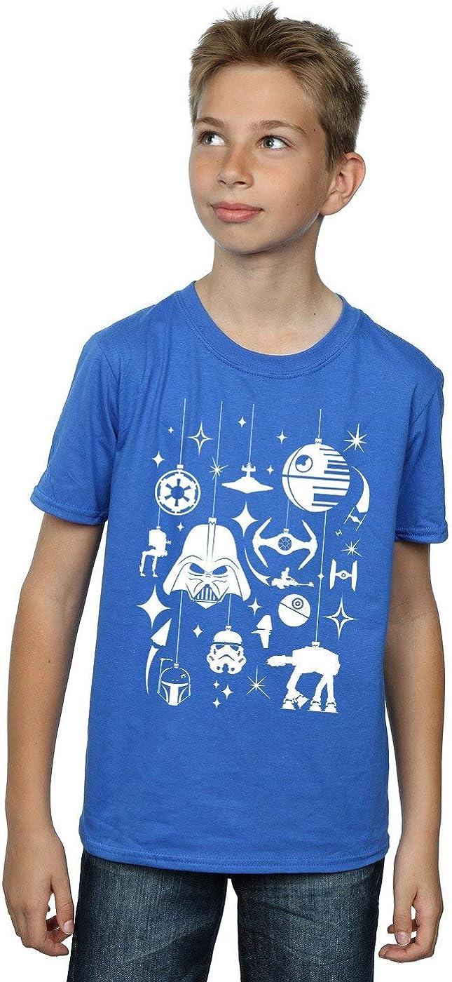 STAR WARS Boys Christmas Decorations T-Shirt 5-6 Years Royal Blue