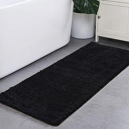 "WOWLIVE Chenille Bath Rugs Non Slip Absorbent Shaggy Mats 16/""x24/"" Soft Fine Fiber Plush Carpet Machine Wash Dry for Shower Sink and Tub,Blue"