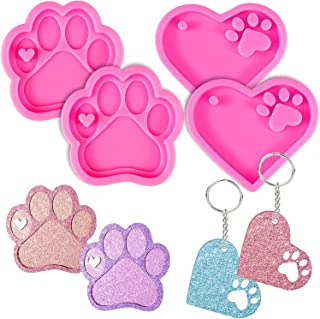 Keychain Silicone Resin Molds, KASTWAVE Heart Dog Paw Candy Fondant Mold, with 20 Pcs Keyrings, for DIY Mother's Day Valen...