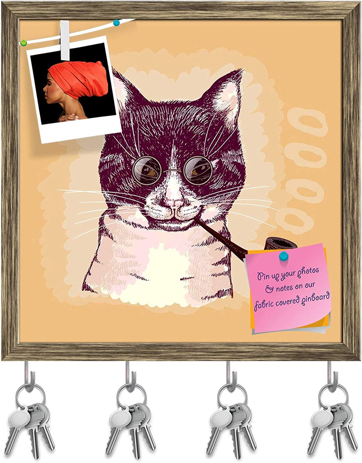 Artzfolio Portrait of A Cat Smoking A Pipe & Wearing Glasses Key Holder Hooks   Notice Pin Board   Antique golden Frame 20 X 20Inch