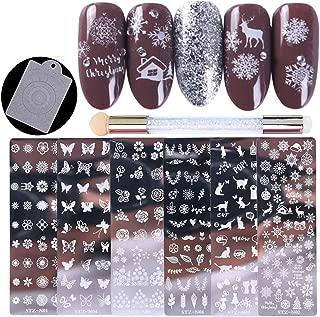 Tingbeauty Nail Stamping Plates Kit Sets 6pcs Nail Plate Template Image Plate With 1 Nail Stamper & 1 Nail Scraper