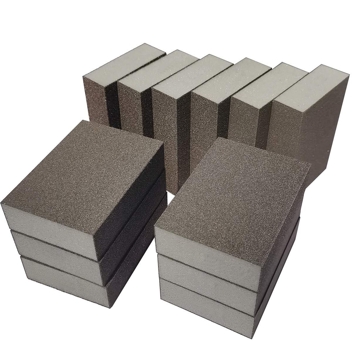 Washable and Reusable Sanding Blocks Great for Pot Brush Pan Brush Sponge Brush Glasses Sanding Wood Sanding Metal Sanding 100 Grit-10 Pack Sackorange 10 Pack 100 Grit Sanding Sponge
