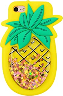 Quicksand Pineapple Case for iPhone 5 5S SE 5C,Soft Cute Silicone 3D Cartoon Fruit Food Cover,Shockproof Vivid Color Kids ...