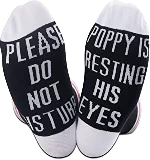 TSOTMO 2 Pairs Gift For Grandpa Novelty Gift Father's Day Gift Please Do Not Disturb Poppy Is Resting His Eyes