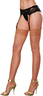 Dreamgirl Women's Plus-Size Thigh-High Stockings with Back Seam