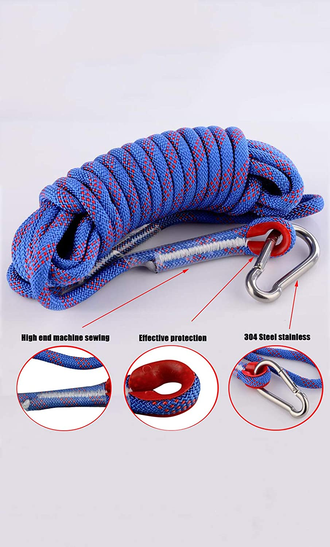 MUTUACTOR Cuerda de poliéster duradera de alta resistencia con mosquetón de diámetro de 10 mm x 10 m para escalada, camping, senderismo, pesca con ...