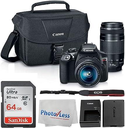 Canon EOS Rebel DSLR T6 cuerpo de cámara + Canon EF-S 0.709-2.165in IS II lente y EF 2.953 – 11.811in III lente + Canon EOS bolsa de hombro (negro) + SanDisk SDXC 64 GB tarjeta de memoria + paño de limpieza + Ultimate Canon Bundle