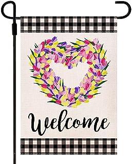 Doncida Welcome Tulips Love Heart Spring Garden Flag Double Sided Buffalo Plaid Garden Flag, Burlap Yard Flag Seasonal Spr...