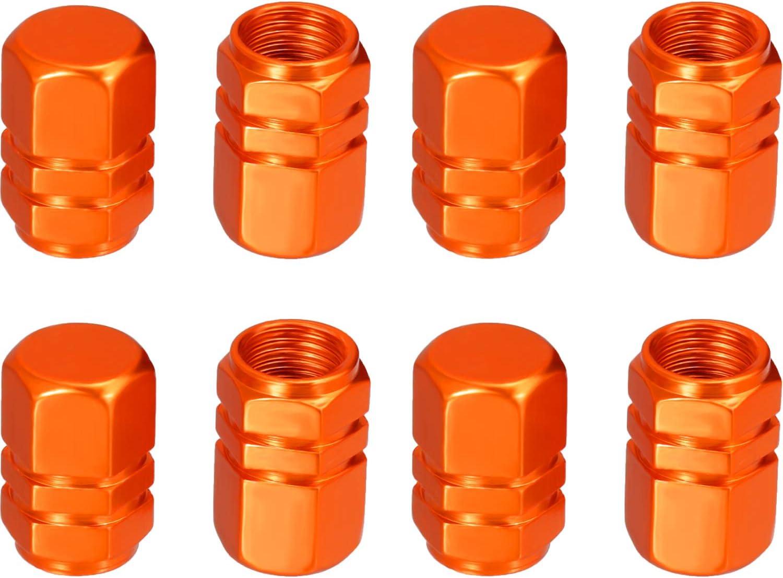 EBOOT 8 Pieces Tire Stem Valve Caps Wheel Valve Covers Car Dustproof Tire Cap Orange Hexagon Shape