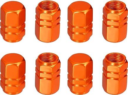 eBoot 8 Pieces Tire Stem Valve Caps Wheel Valve Covers Car Dustproof Tire Cap, Hexagon Shape (Orange)