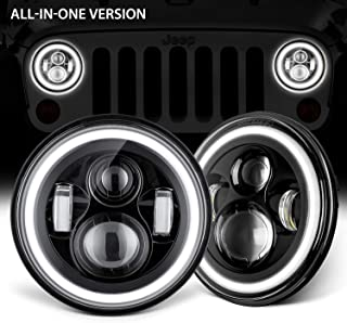 GoodRun Jeep Wrangler Headlights 7'' LED Halo Angel Eyes Amber Turn Signals White DRL Dot Approved For 1997-2017 TJ JK Unlimited Rubicon Sport Sahara Willys Wheeler Car Accessories