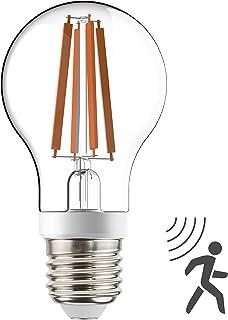 Bombilla de filamento LED, A60, con sensor crepuscular y de movimiento HF, 7W 806 lm, cuerpo de cristal