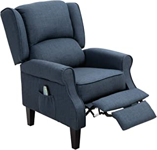 HOMCOM Heated Vibrating Linen Fabric Massage Recliner Chair Push-Back with Remote Controller - Dark Blue