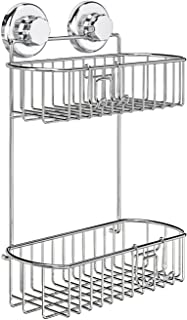 HASKO accessories - Shower Caddy with Suction Cup - 304 Stainless Steel 2Tier Basket for Bathroom - Rustproof (Chrome)