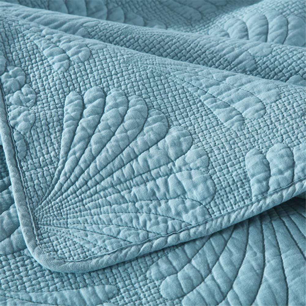 Set 3Pcs Couvre-Lit Piqué Palm Relief 230X250cm Avec 2 Taies D'oreiller 50X70cm, Réversible En Drap Ou Couverture,Rose Blue